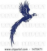 Vector Clip Art of Retro Blue and White Flying Pheasant Bird by Patrimonio