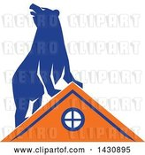 Vector Clip Art of Retro Blue Bear on Top of an Orange House by Patrimonio