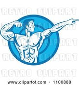 Vector Clip Art of Retro Blue Bodybuilder Flexing and Pointing over a Blue Circle by Patrimonio