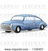 Vector Clip Art of Retro Blue Car by Graphics RF