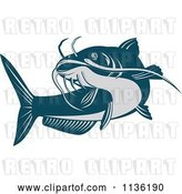 Vector Clip Art of Retro Blue Catfish by Patrimonio