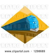 Vector Clip Art of Retro Blue Diesel Train on a Bridge Inside a Yellow Diamond by Patrimonio