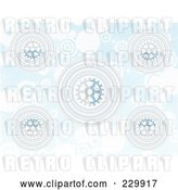 Vector Clip Art of Retro Blue Gear and Circle Background by Mheld