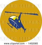 Vector Clip Art of Retro Blue Helicopter Flying in a Circle by Patrimonio