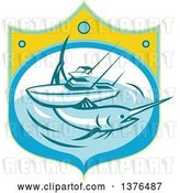 Vector Clip Art of Retro Blue Marlin Fish and Charter Boat at Sea in a Shield by Patrimonio