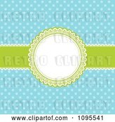 Vector Clip Art of Retro Blue Polka Dot Background with a Green and White Round Frame and Ribbon by KJ Pargeter