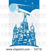 Vector Clip Art of Retro Blue Scene of Sputnik Passing over the Red Square, Style by Xunantunich