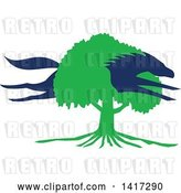 Vector Clip Art of Retro Blue Silhouetted Horse Leaping Through a Green Oak Tree by Patrimonio