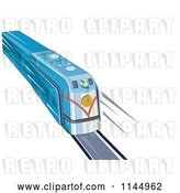 Vector Clip Art of Retro Blue Train 1 by Patrimonio