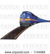 Vector Clip Art of Retro Blue Train 2 by Patrimonio