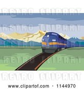 Vector Clip Art of Retro Blue Train in a Valley by Patrimonio