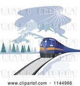 Vector Clip Art of Retro Blue Train near Mountains by Patrimonio