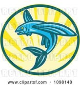 Vector Clip Art of Retro Blue Woodcut Flying Fish Jumping over Sunshine by Patrimonio