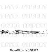 Vector Clip Art of Retro Boat Tied to a Dock, with Seagulls and Text Space by Picsburg