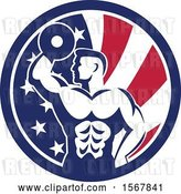 Vector Clip Art of Retro Bodybuilder Doing Bicep Curls with a Dumbbell in an American Flag Circle by Patrimonio