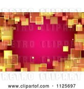 Vector Clip Art of Retro Border Background of Orange and Yellow Squares on Pink by Michaeltravers