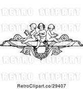 Vector Clip Art of Retro Border of Cherubs Reading and Writing by Prawny Vintage