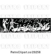 Vector Clip Art of Retro Border of Geese and People by Prawny Vintage