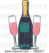 Vector Clip Art of Retro Bottle and Glasses of Pink Champagne by Vector Tradition SM