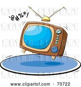 Vector Clip Art of Retro Bouncing Box Television on a Blue Rug by Jtoons