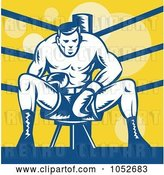 Vector Clip Art of Retro Boxer Sitting on a Stool in the Ring by Patrimonio