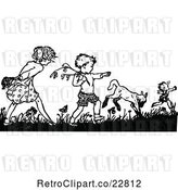 Vector Clip Art of Retro Boy and Girl Picking Flowers by Prawny Vintage