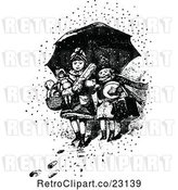 Vector Clip Art of Retro Boy and Girl with Toys Under an Umbrella in the Snow by Prawny Vintage