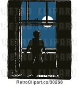 Vector Clip Art of Retro Boy Gazing at the Moon Through a Window by Prawny Vintage