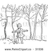 Vector Clip Art of Retro Boy in the Woods by Prawny Vintage