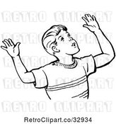 Vector Clip Art of Retro Boy Throwing up His Arms in by Picsburg