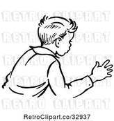 Vector Clip Art of Retro Boy Trying to Stop an Action in by Picsburg