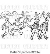 Vector Clip Art of Retro Boys and Girls Running and Walking in a Park in by Picsburg