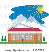 Vector Clip Art of Retro Brick School Building and Mountains with Sunshine by Patrimonio
