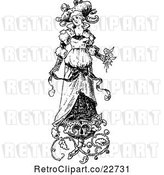 Vector Clip Art of Retro Bride with Floral Designs by BestVector