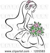 Vector Clip Art of Retro Bride with Pink Flowers by Vector Tradition SM