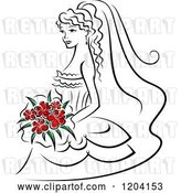 Vector Clip Art of Retro Bride with Red Flowers by Vector Tradition SM