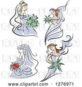 Vector Clip Art of Retro Brides in Periwinkle Dresses by Vector Tradition SM