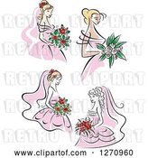 Vector Clip Art of Retro Brides in Pink Dresses by Vector Tradition SM