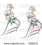 Vector Clip Art of Retro Brides with Flowers and Wedding Gowns by Vector Tradition SM