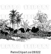 Vector Clip Art of Retro Bridge and Palm Trees by Prawny Vintage