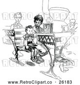 Vector Clip Art of Retro Brothers in a Class Room by Prawny Vintage