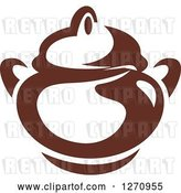 Vector Clip Art of Retro Brown and White Coffee Pot by Vector Tradition SM