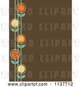Vector Clip Art of Retro Brown Background with a Border of Flowers by Maria Bell