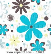 Vector Clip Art of Retro Brown, Blue and Yellow Floral Background on White by KJ Pargeter