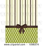 Vector Clip Art of Retro Brown Bow with Brown Green and Beige Stripes and Polka Dots on Green by Elaineitalia