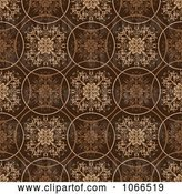 Vector Clip Art of Retro Brown Circle Floral Background by Michaeltravers
