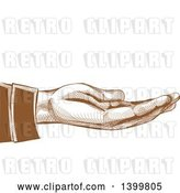 Vector Clip Art of Retro Brown Engraved Hand Held out by BNP Design Studio