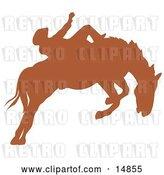 Vector Clip Art of Retro Brown Silhouette of a Cowboy Riding a Bucking Bronco in a Rodeo by Andy Nortnik