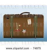 Vector Clip Art of Retro Brown Suitcase with Travel Stickers by Anja Kaiser