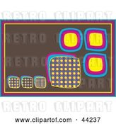 Vector Clip Art of Retro Brown Website Background of Colorful Boxes by Kaycee